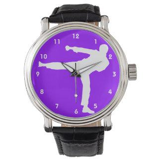 Artes marciales púrpuras violetas relojes de pulsera