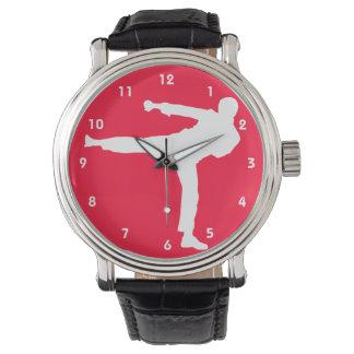 Artes marciales rojos del escarlata reloj de mano