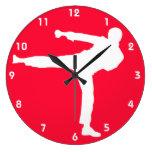 Artes marciales rojos del escarlata reloj redondo grande