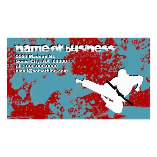 artes marciales: siluetas del grunge: tarjetas de visita