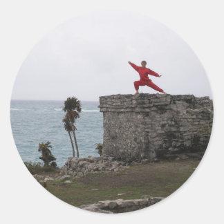 Artes marciales tropicales pegatina redonda