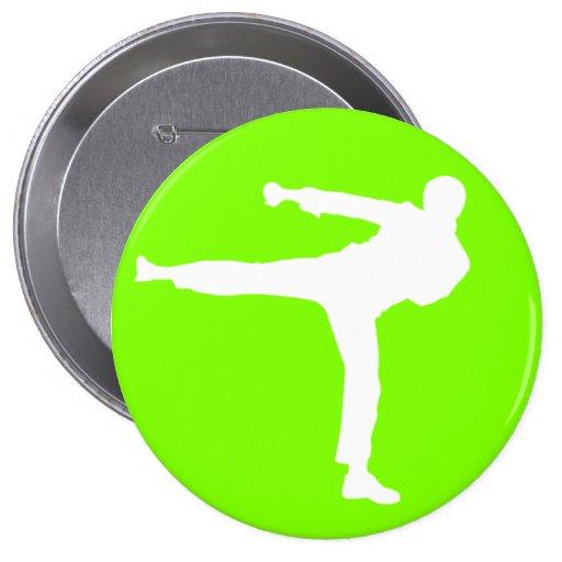 Artes marciales verdes chartreuses, de neón pin redondo de 4 pulgadas