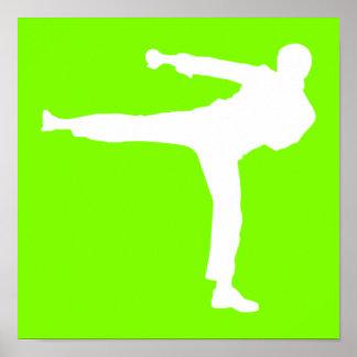Artes marciales verdes chartreuses, de neón póster
