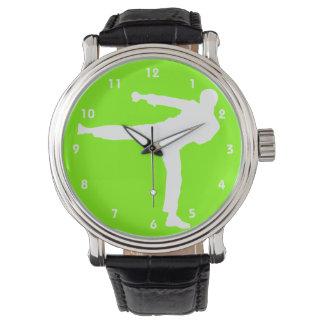 Artes marciales verdes chartreuses, de neón relojes de mano