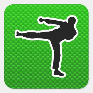Artes marciales verdes pegatina cuadrada