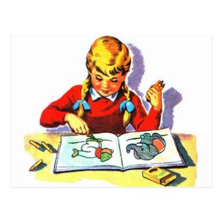 Artes y artes retros del libro de escuela del niño postal