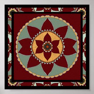 Artes y Mandala-impresión de la flor de los artes Posters