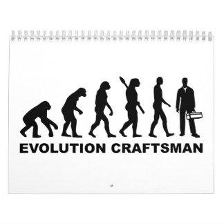 Artesano de la evolución calendario de pared
