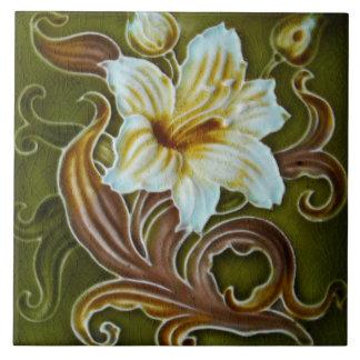 Artesano floral de la mayólica de Nouveau Deco del Azulejo Cuadrado Grande