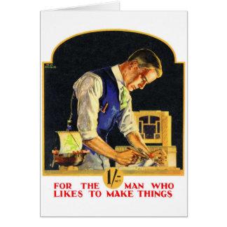 Artesano retro del carpintero de la manitas del ki tarjeta de felicitación