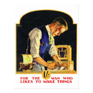 Artesano retro del carpintero de la manitas del postal