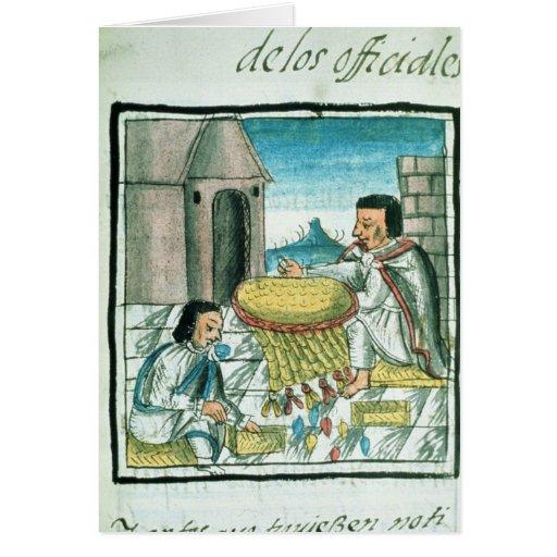 Artesanos aztecas de la pluma en el trabajo tarjeta de felicitación