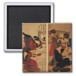 Artesanos que hacen un grabar en madera, c.1857 imán cuadrado