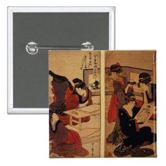 Artesanos que hacen un grabar en madera, c.1857 pin cuadrada 5 cm