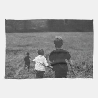 Artful Boys Brothers at Play Black & White Print Kitchen Towel