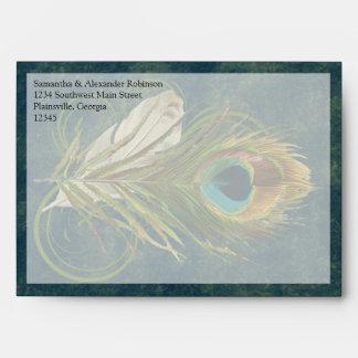 Artful Detail Peacock Feather Envelopes