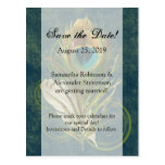 Artful Detail Peacock Feather Save the Date Postcard