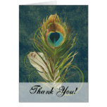 Artful Detail Peacock Feather Swirl Thank You Note Stationery Note Card