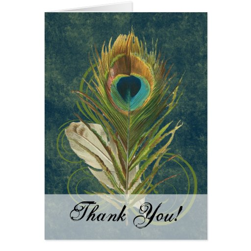 Artful Detail Peacock Feather Thank You Stationery Note Card