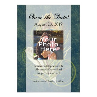 Artful Detail Peacock Wedding 5x7 Save the Date Card