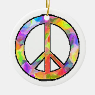 Artful Peace Double-Sided Ceramic Round Christmas Ornament