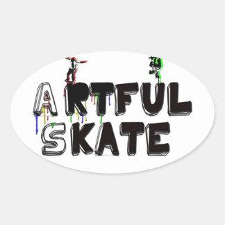 artful oval sticker