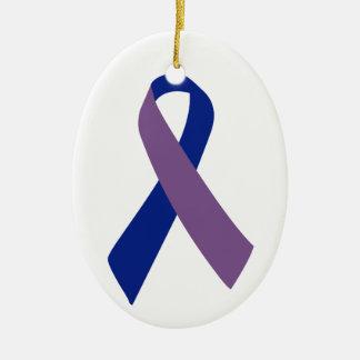 arthritis awareness blue ribbon Double-Sided oval ceramic christmas ornament