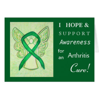 Arthritis Awareness Green Ribbon Greeting Card