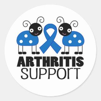 Arthritis Awareness ladybug Support Stickers Round Sticker