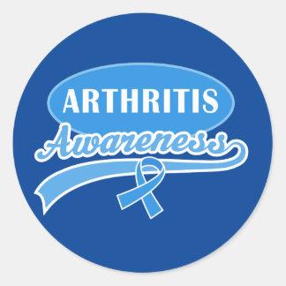 Arthritis Awareness Support Blue Ribbon Stickers Round Sticker