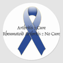 Arthritis Blue Ribbon Awareness Design 4 Classic Round Sticker