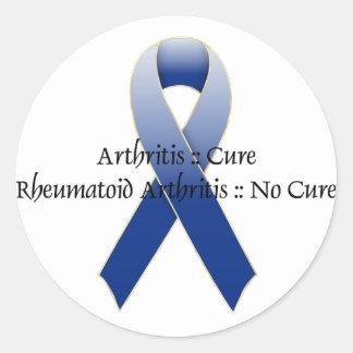 Arthritis Blue Ribbon Awareness Design 4 Classic Round Sticker