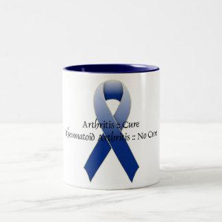 Arthritis Blue Ribbon Awareness Design 4 Two-Tone Coffee Mug