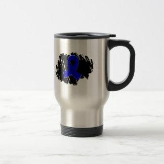 Arthritis Blue Ribbon With Scribble 15 Oz Stainless Steel Travel Mug