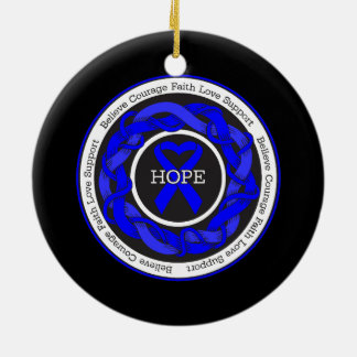 Arthritis Hope Intertwined Ribbon Double-Sided Ceramic Round Christmas Ornament