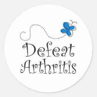 Arthritis Slogan Blue Butterfly Stickers Round Sticker