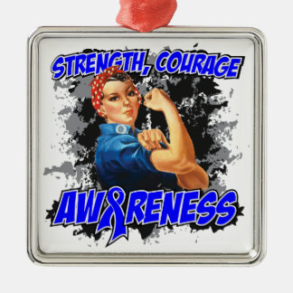 Arthritis Strength Courage Square Metal Christmas Ornament