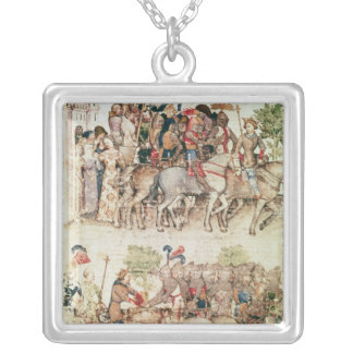 Arthur and his knights setting out on the silver plated necklace