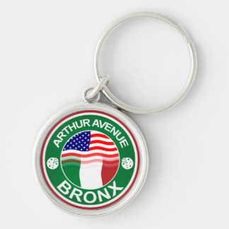 Arthur Ave Bronx Italian American Silver-Colored Round Keychain