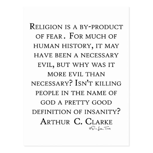 Arthur C Clarke On Religion Postcard