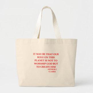 arthur c clarke quote large tote bag