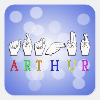 ARTHUR FINGERSPELL ASL NAME SIGN SQUARE STICKER