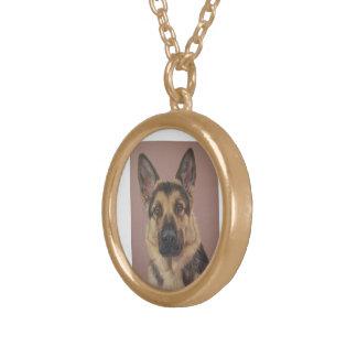 Arthur - German Shepherd. Round Pendant Necklace