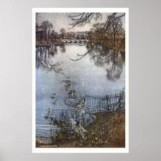 Arthur Rackham - Peter Pan Kensington Gardens Poster