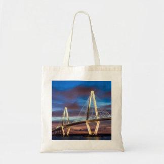 Arthur Ravenal Bridge at Night Tote Bag
