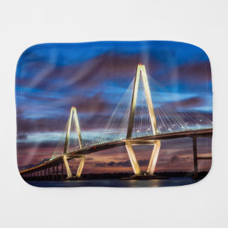 Arthur Ravenel Bridge At Night Baby Burp Cloth