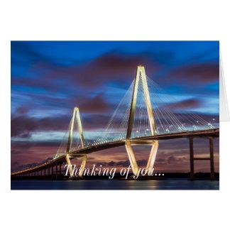 Arthur Ravenel Bridge At Night Card