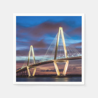 Arthur Ravenel Bridge At Night Napkin