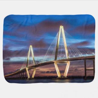 Arthur Ravenel Bridge At Night Receiving Blanket