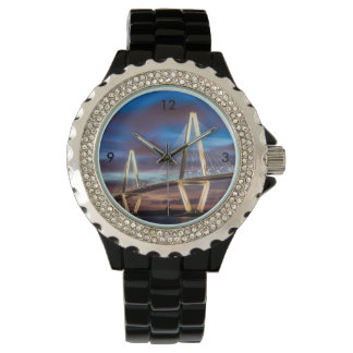 Arthur Ravenel Bridge At Night Wrist Watches